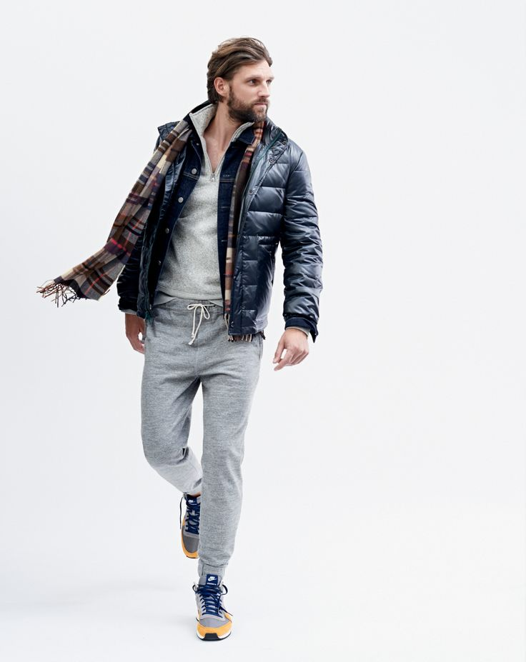 J.Crew men's lightweight puffer jacket, summit fleece half zip pullover, the un-sweatpant, and Nike Internationalist Mid sneakers, and mosaic scarf.
