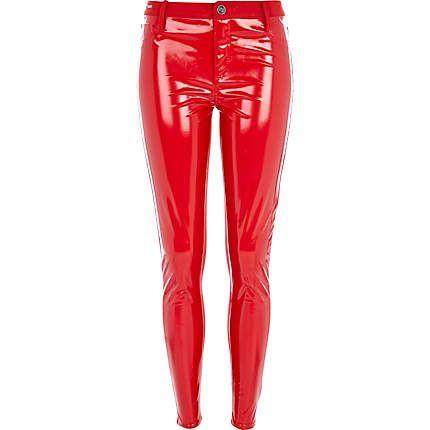 Red vinil pants for hot women. River Island