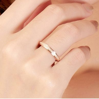 Top Quality Rose Gold Plated Titanium Steel Simple Frosting Fine 2mm Depth Cheap Women Ring, US Size 3 to Size 10 available