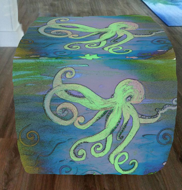 Blue octopus tropical fish cube ottoman from my art by maremade on Etsy https://www.etsy.com/listing/218659200/blue-octopus-tropical-fish-cube-ottoman