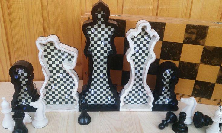 """Купить Ночник """"Шахматы"""" - чёрно-белый, шахматы, ночник, ночник шахматы, шахматные фигуры"""