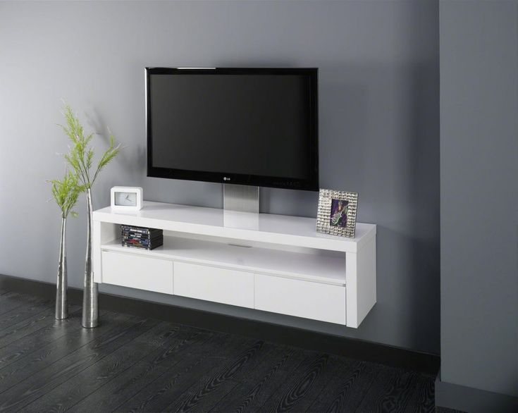 Meuble TV Hi-fi design suspendu SERENA, 3 tiroirs, coloris blanc laqué