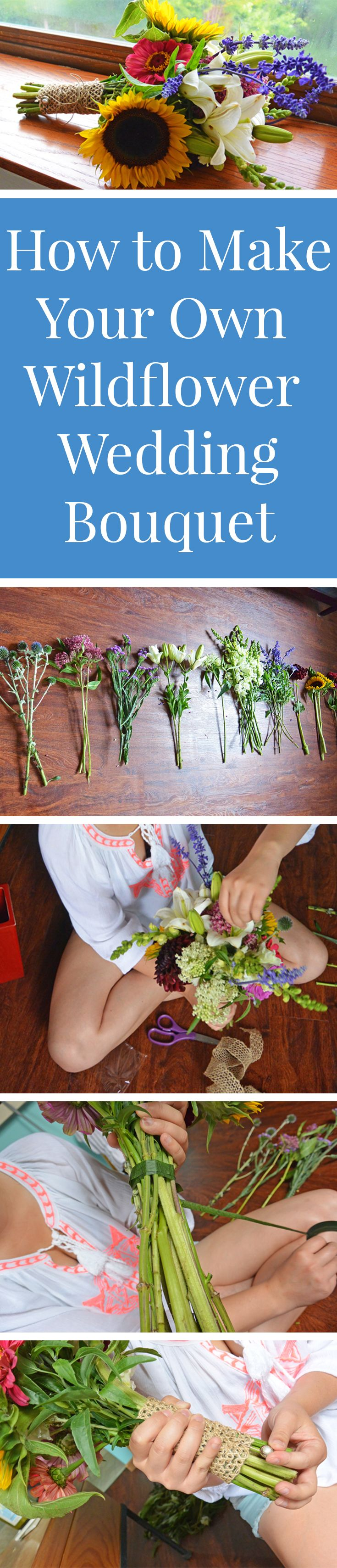 Learn how to make your own wildflower wedding bouquet for $25.