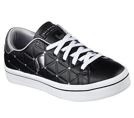 Skechers Kids' Bermuda Brights Memory Foam Sneaker Pre/Grade School Shoes (Black/Silver)
