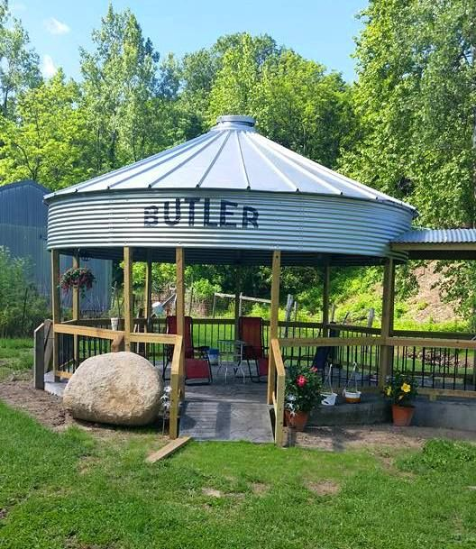 This photo was posted to the Women of Agriculture Facebook page by Gayle Voepel.  Gayle and her husband created this great gazebo out of an old Butler grain bin.  What a great idea! This would fit into the landscape perfectly here in rural southwestern Indiana and so many other places.