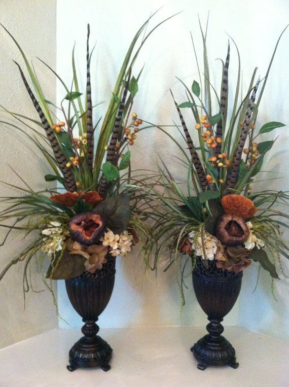 PAIR of Elegant Faux Floral Arrangements for the mantel - Berry & Pod Silk Floral Arrangement - Tall Arrangement by Greatwood Floral Designs.