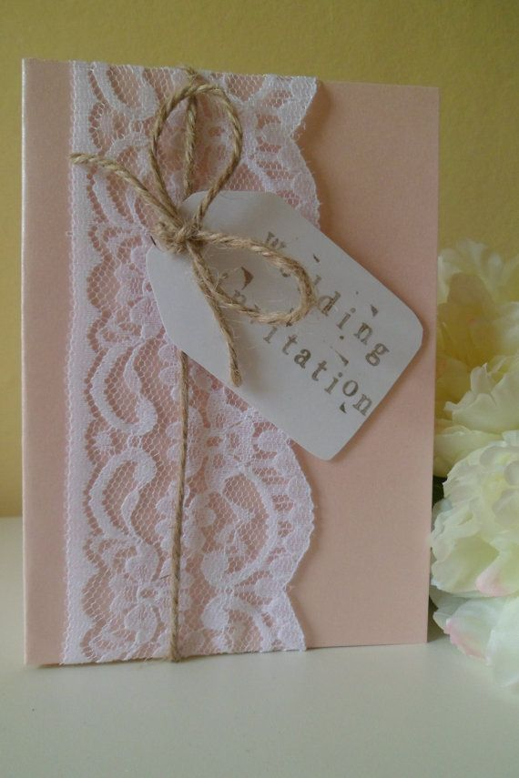 Handmade Vintage Lace Wedding Invitation Sample by OloveDesigns