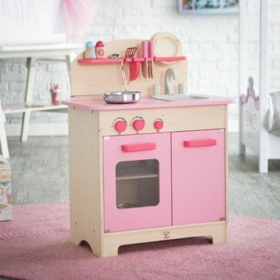 Hape Pink Gourmet Kitchen with Starter Cookware set E8012 sold online www.directtoys.nz