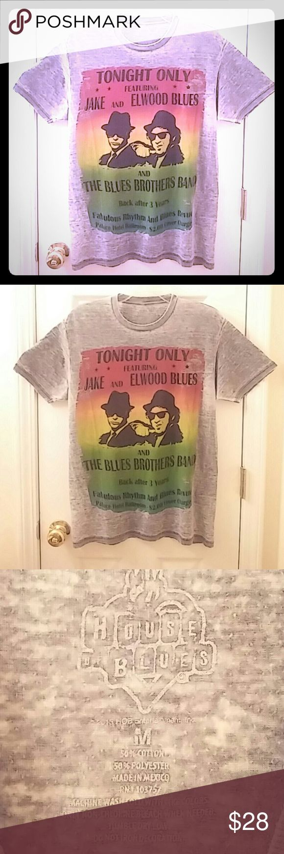 Blues Brothers Burnout Tee This is a very cool tee shirt... Blues Brothers burnout tee... SIZE: MEDIUM a little oversized... Nice and comfy!!! House of Blues Tops Tees - Short Sleeve