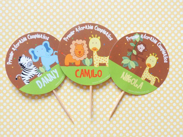 "Toppers de comida fiesta ""Animales de la Selva"""