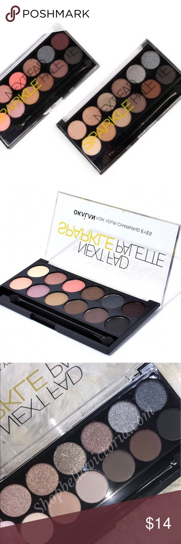 Bundle 2 Okalan Eyeshadow palettes Perfect your peepers with a glamorous touch of sparkle courtesy of this versatile set of eye shadows which boasts both matte and shimmer shades.  Includes 12 shades and dual ended sponge applicator 0.5 oz. Ingredients: mica, talc, paraffium liquidum, magnesium stearate, ethylhexyl palmitate, dimethicone, propylparaben, methylparaben Imported Makeup Eyeshadow