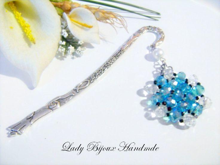 Segnalibro in metallo con pendente in cristallo di Lady Bijoux Handmade su DaWanda.com