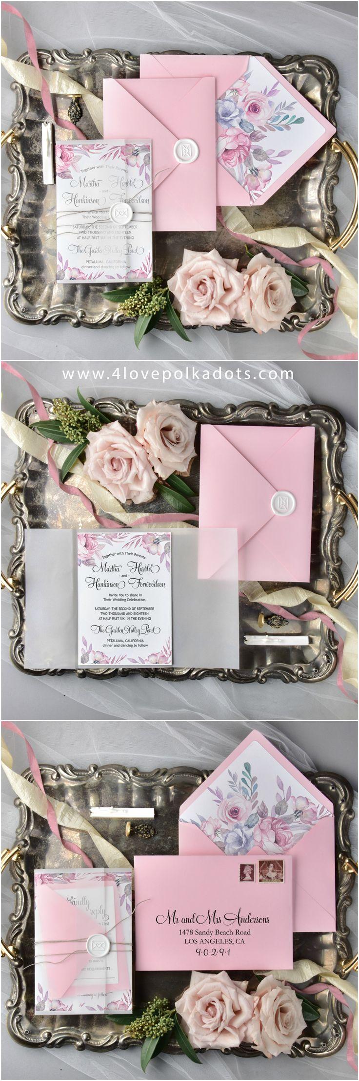 Pink wedding invitations #4lovepolkadots #weddinginvitations #weddingstationery #weddinginvitation #invitationscards #pinkwedding #pinkinvitations #flowerinvitations