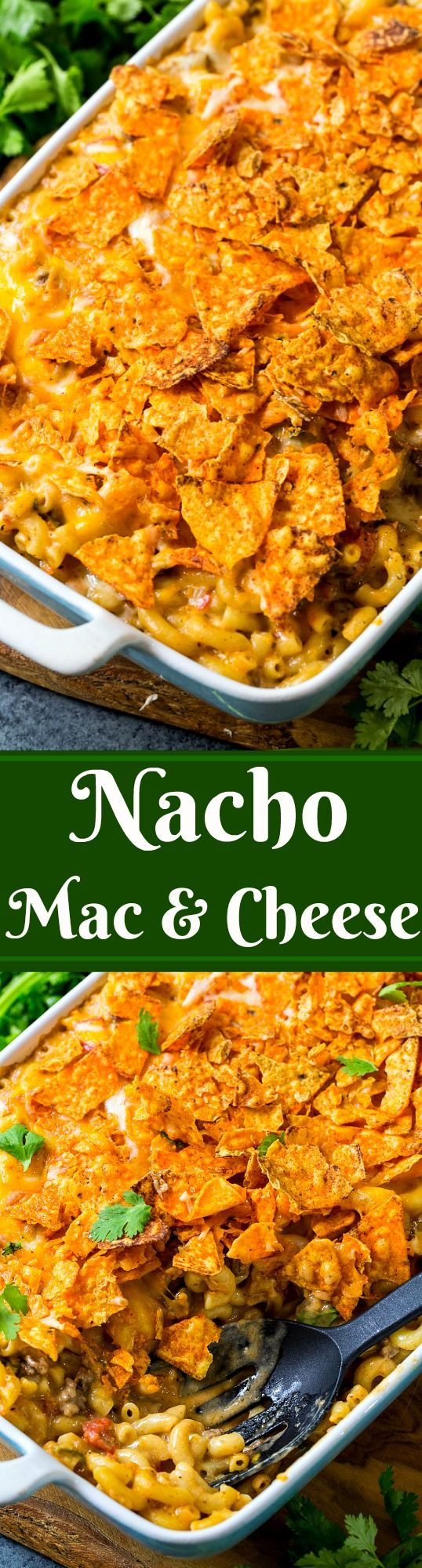 Nacho Mac & Cheese with ground beef and crushed Doritos on top.