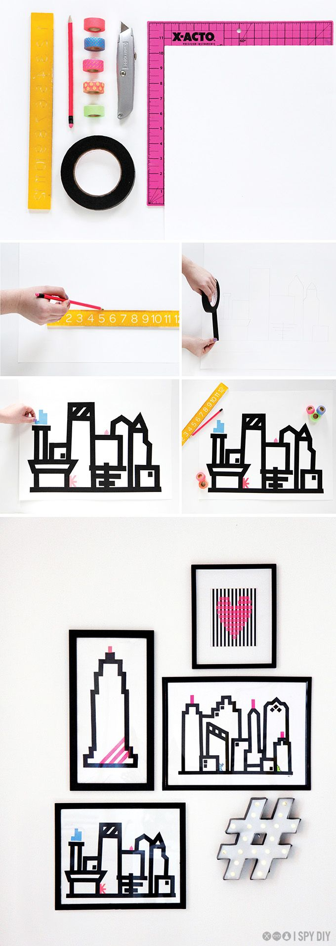 STEPS | Washi Skyline Wall Art | I SPY DIY: STEPS | Washi Skyline Wall Art | I SPY DIY