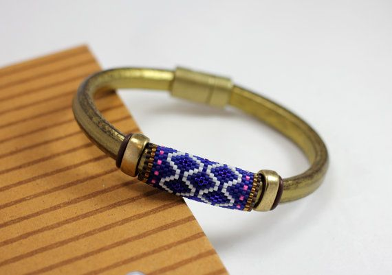 Peyote beaded bead on a Regaliz leather bracelet, royal blue, indigo, white, gold, handmade, colorful, everyday chic, unique - no. 2040 on Etsy, $40.00