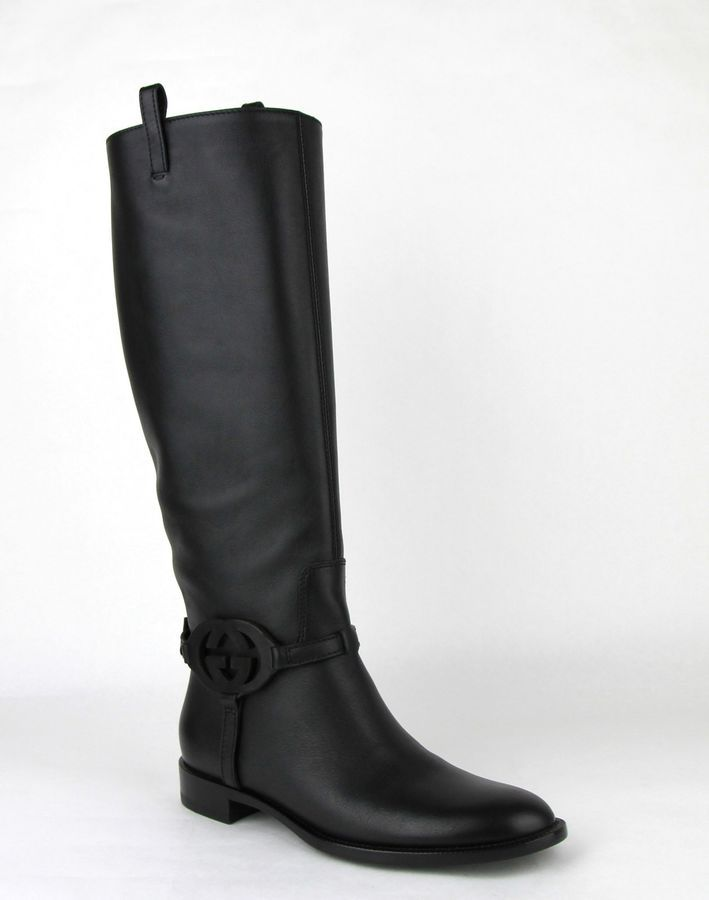 05012894ec68  1440 Gucci Black Leather Knee Boots with Interlocking G 338541  1000 Black Leather