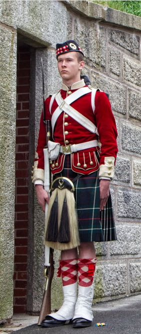 British; 78th(Highland)(Ross-shire Buffs) Regiment of Foot. A re-enactor at the Citdel, Nova Scotia potraying a highlander of the regiemnt on guard duty at the Citadel durings their tour of duty in the late 1860s