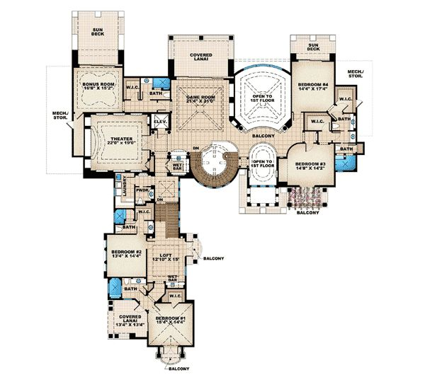 images about House plans on Pinterest   Mediterranean house    Plan W WE  Corner Lot  Luxury  Premium Collection  Florida  Photo Gallery
