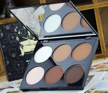 2015 New Women Professional Makeup Face Pressed Powder Foundation 6 Colors Make up Highlight and Contouring Powder Palette