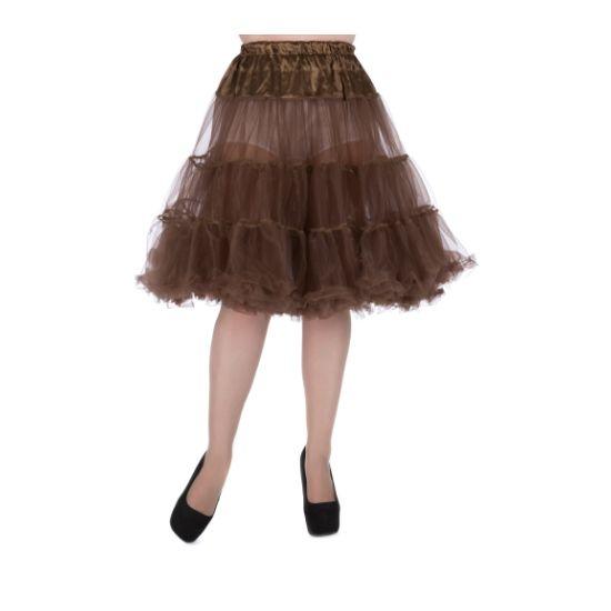 """Lady V London Bronze Spodnička k šatům 27"""" Spodnička ve stylu 50. let. Krásná tylová spodnička k šatům s kolovou sukní, dokonale pozvedne výraz šatů, bohatý objem, 2 bohaté vrstvy, 100% polyester, příjemná bronzová barva, délka cca 68 cm. Vhodná pro delší typy šatů pod kolena."""