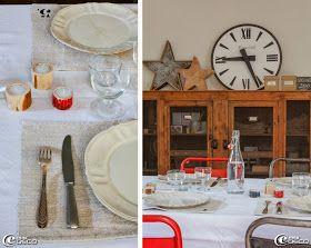 Photophores en bois créés par Franck Krembser, sets de table numérotés confectionnés par 'Bord de Scène', assiettes 'Blanc d'Ivoire', horloge de gare en plexiglas chinée, boîtes d'herboristerie en carton épais chinées chez 'Le Grenier de Ninon'