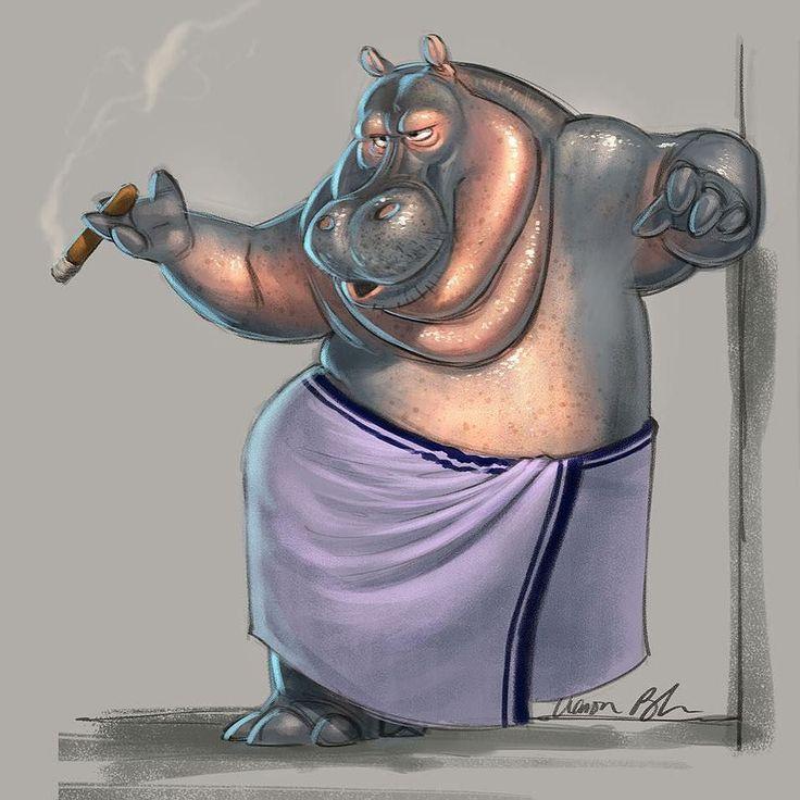 Happy Saturday! Stunning work from @aaronblaiseart. #illustration #saturdaymorning #hippopotamus