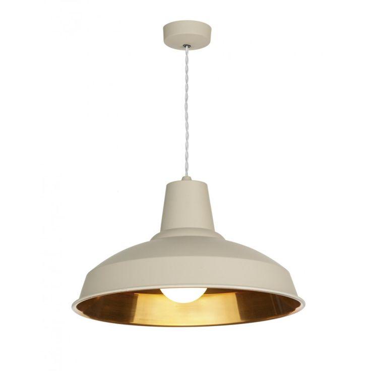 David Hunt Lighting REC0112 Reclamation Industrial Pendant Light in Cotswold Cream and Copper Inner