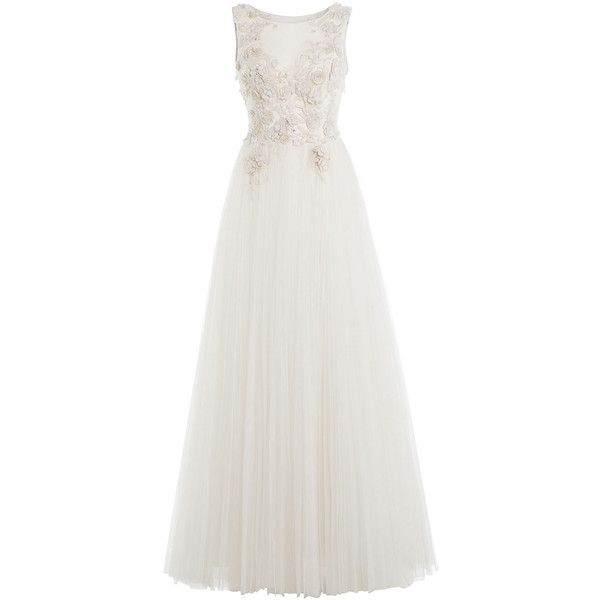 Alberta Ferretti Embellished Floor-Length Gown ($2,745) ❤ liked on Polyvore featuring dresses, gowns, white, white floor length dress, white bridal dresses, beaded bridal gowns, white beaded dress and white ball gowns