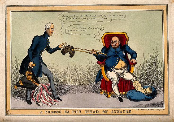 The gouty George IV using tongs to pass his discarded wig to Wellington; satirizing the Duke's appointment to office as First Lord of the Treasury. Прозв.«Железный герцог» появ.в период,когда Веллингтон был крайне непопул.и как личность,и как политик.В июле 1830 так,с оттенком неодобрения,его назыв.на страницах ирланд.газ.«Фримен джорнел» за тверд.позицию в политике.В сент. 1830 Веллингтона встретил враждеб. прием толпы на откр.желез. дороги Ливерпуль-Манчестер.
