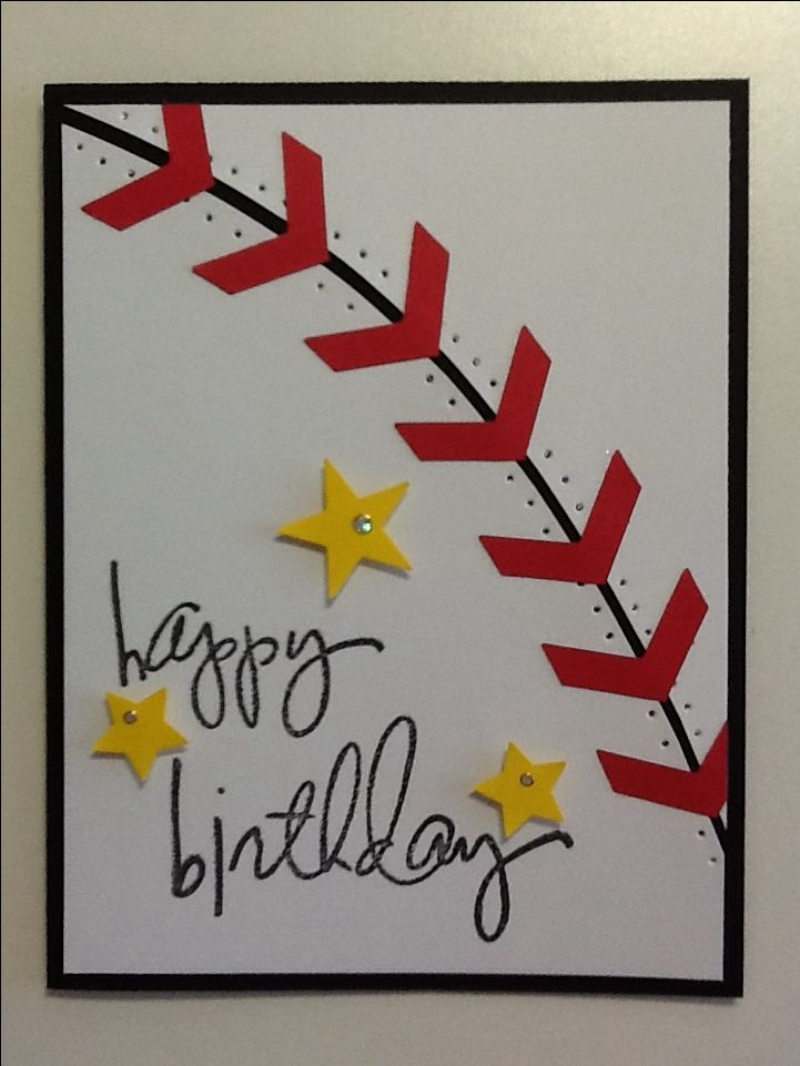 Oh I *heart* this handmade birthday card!  Cut a curve to match this design of a baseball, complete with paper piercings and stitching.  Add your birthday sentiment and you will surely knock one out of the park.
