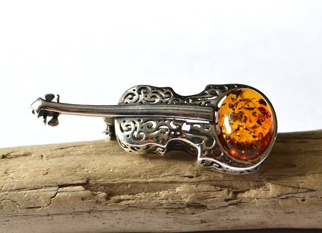 Excited to share the latest addition to my #etsy shop: Violin Amber Brooch, Amber Brooch with Silver, Music brooch, instrument jewelry, natural baltic amber, Violin Pin, Musician Gift http://etsy.me/2BuiK6z #jewelry #brooch #silver #anniversary #christmas #music #brown