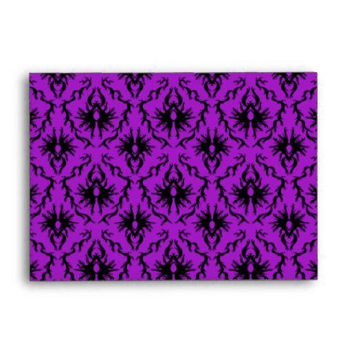 Purple and Black Damask Design. Gothic. Envelopes