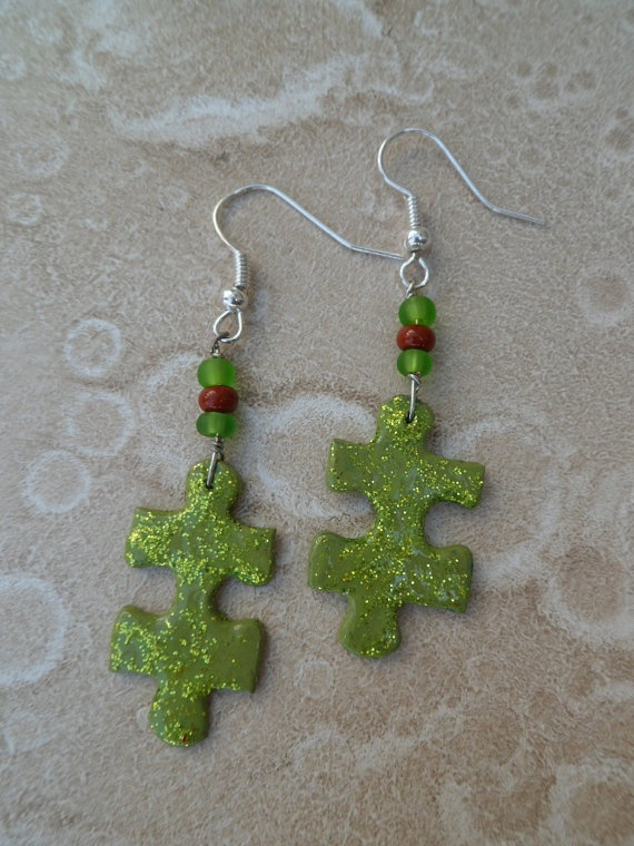 Spring green upcycled puzzle piece earrings!