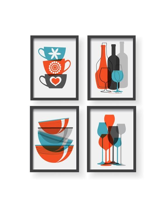 Orange Blue Gray Modern Kitchen Poster Set Modern Colorful Kitchen Decor Kitchen W Living Room Decor Orange Orange Kitchen Walls Decor Kitchen Color Orange