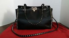 Valentino Garavani Black Leather Gold Tone Rockstud Tote Bag EWB00970