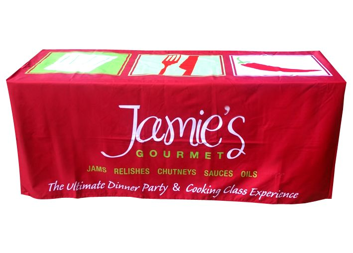 Who's hungry? This fantastic red and green table cover by Star Outdoor is used for Jamie's Gourmet cooking classes. These Italian colours make us so hungry! Visit www.staroutdoor.com.au to check out their range of printed outdoor promotional products and get a custom printed table cover for your business!