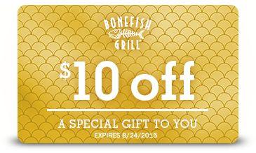 Saving 4 A Sunny Day: $10 Off At Bonefish Grill