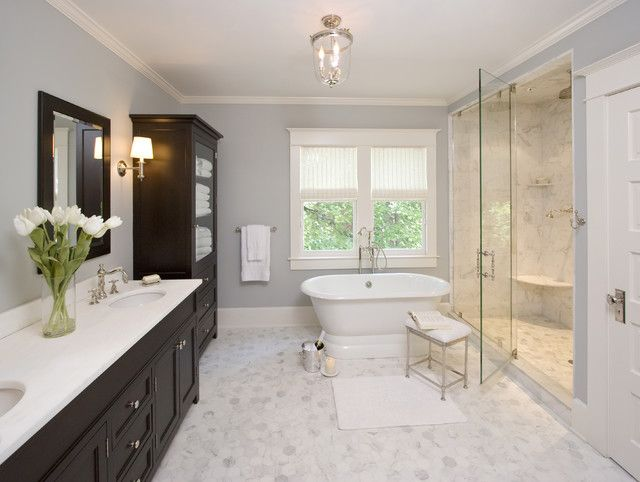 Gallery Website free standing tub fully enclosed shower dark cabinets Clawson Architects Projects traditional Bathroom New York Clawson Architects LLC