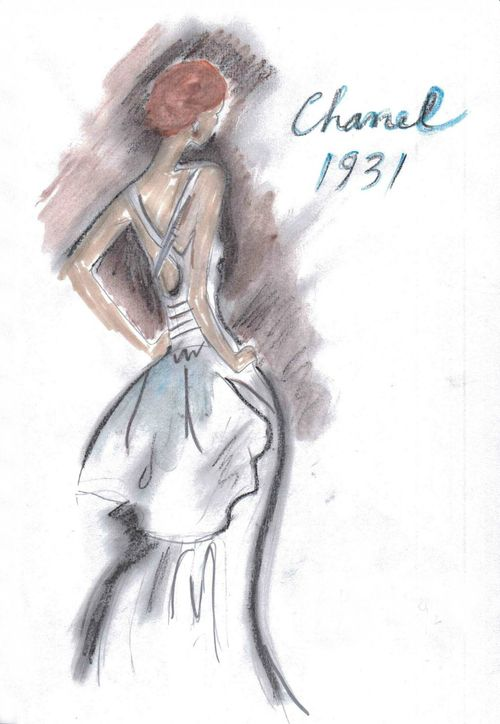 Chanel haute couture 1931 illustrated by Karl Lagerfeld
