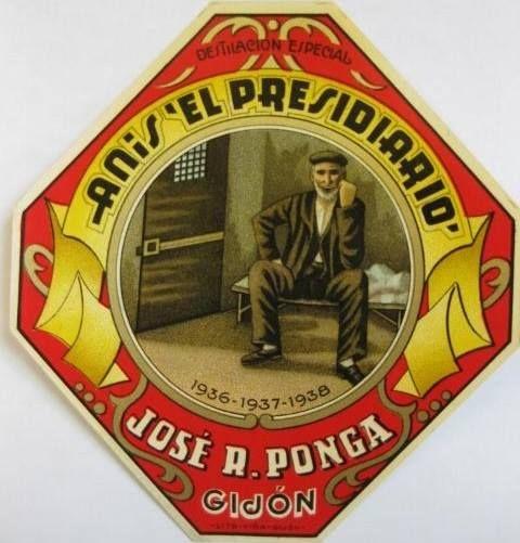Antigua etiqueta de anís EL PRESIDIARIO, de Gijón.