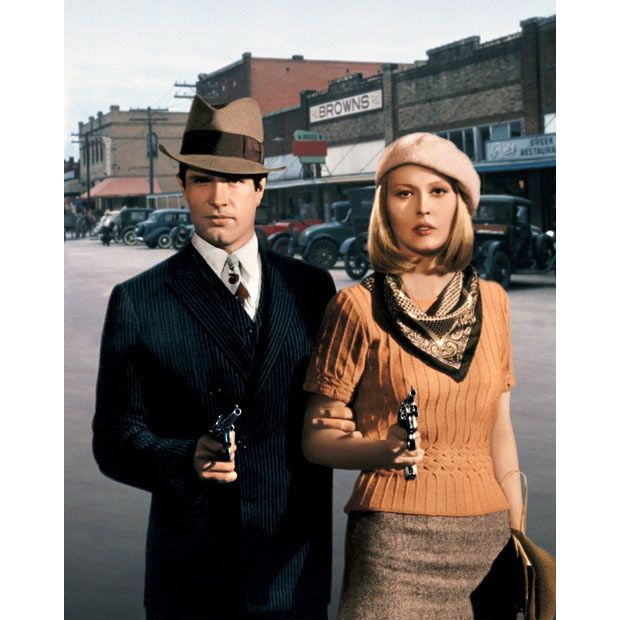 Faye Dunaway in 1967′s Bonnie and Clyde.  Love the sweater