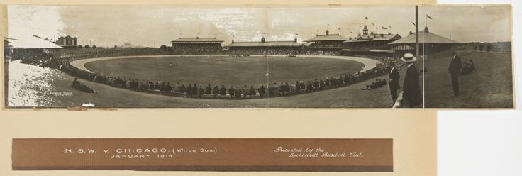 New South Wales versus Chicago White Sox baseball match, Sydney Cricket Ground, 6 January 1914. Photograph by Exchange Studios, held by the Mitchell Library, State Library of New South Wales: http://www.acmssearch.sl.nsw.gov.au/search/itemDetailPaged.cgi?itemID=839723