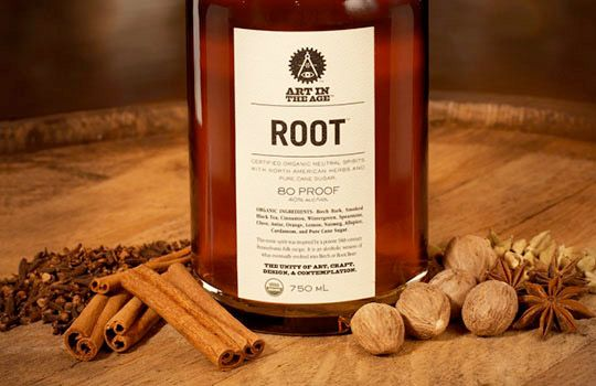 Root returns Root Beer to its roots as Root Tea, an alcoholic drink taught to settlers by Native Americans in the 1700s; it's an organic, 80-proof liqueur made from U.S. sugar cane.