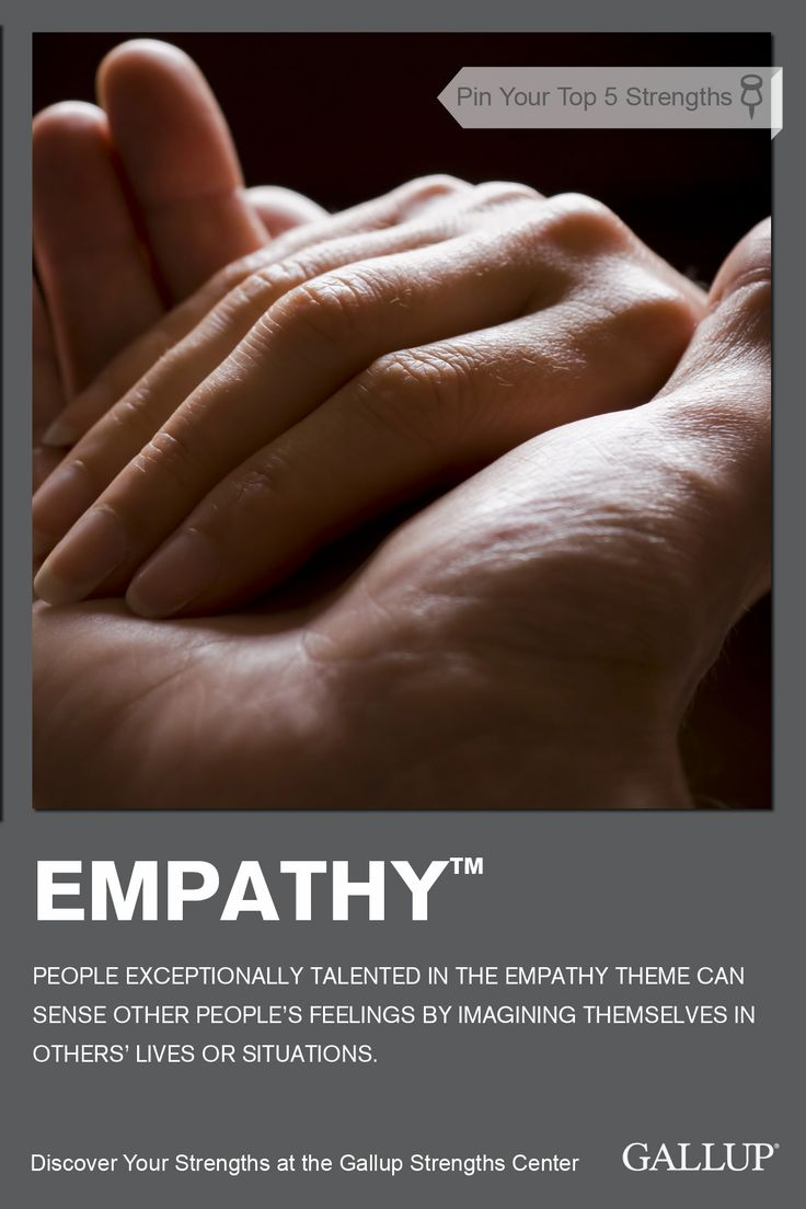 Your ability to sense others' feelings and see the world through their eyes is a sign you have Empathy as a strength. Discover your strengths at Gallup Strengths Center. www.gallupstrengthscenter.com
