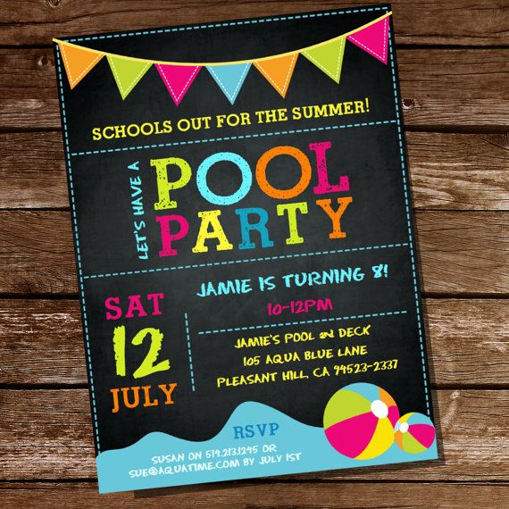Summer Pool Party Invitation - Schools Out - Instantly Downloadable and Editable File - Personalize at home with Adobe Reader on Etsy, $5.52 CAD