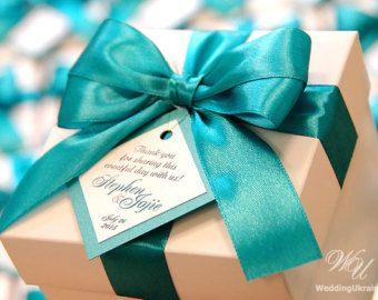 20 cajas de los de boda personalizado con lazo y etiqueta - boda Bienvenido Invitado - ducha nupcial cajas Box - ducha de la boda - satén azul