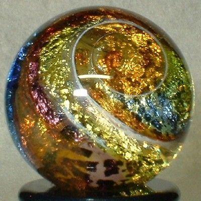 WILLIS MARBLES -   TRANS SILVER FUMED FOIL SWIRL  -  HANDMADE ART GLASS MARBLE