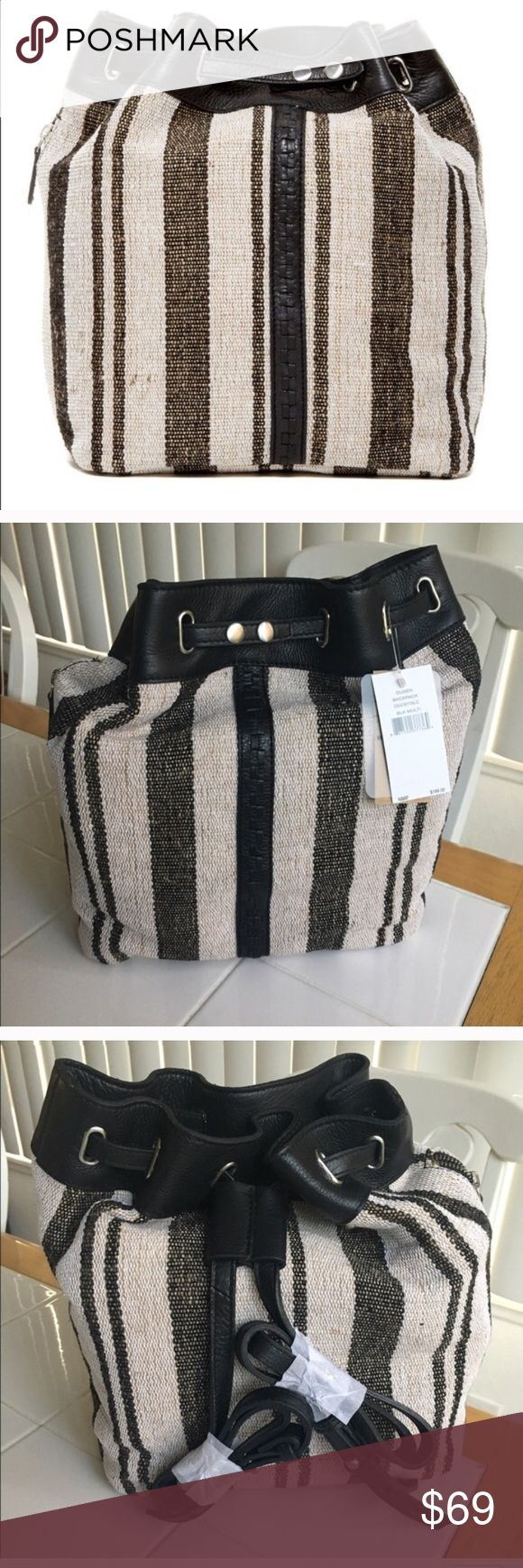 FLASH SALE 💜Kelsi Dagger backback- NWT Jute and Cotton exterior. This bag has the greatest texture. 12x12 roomy. Authentic Leather trim and drawstrings. Versatile backpack styling makes for a great travel bag. No trades. Kelsi Dagger Bags Backpacks