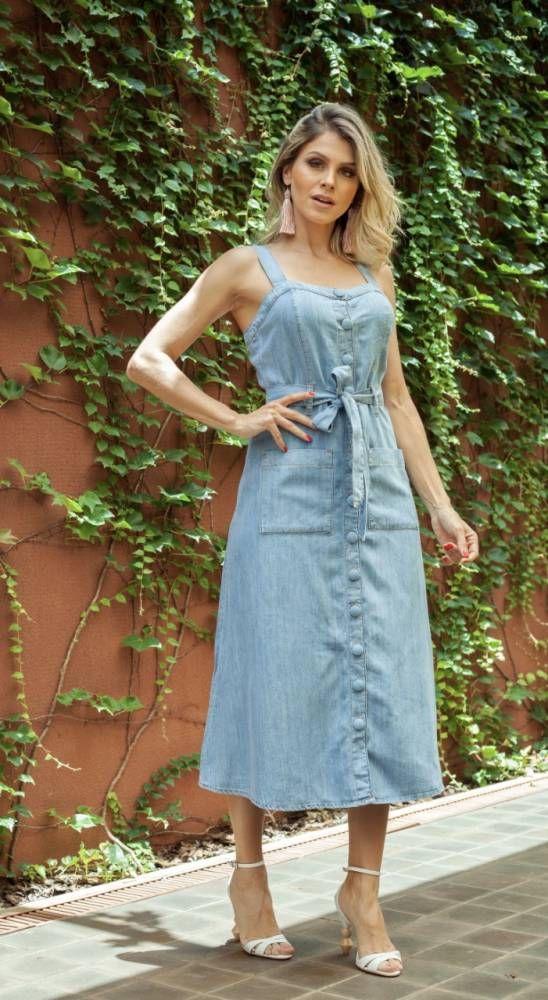 Vestido Jeans Feminino Midi Botões na frente | Vestido jeans, Vestidos, Ideias fashion